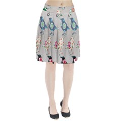 Birds Floral Pattern Wallpaper Pleated Skirt