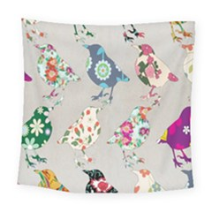 Birds Floral Pattern Wallpaper Square Tapestry (large)
