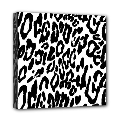 Black And White Leopard Skin Mini Canvas 8  X 8