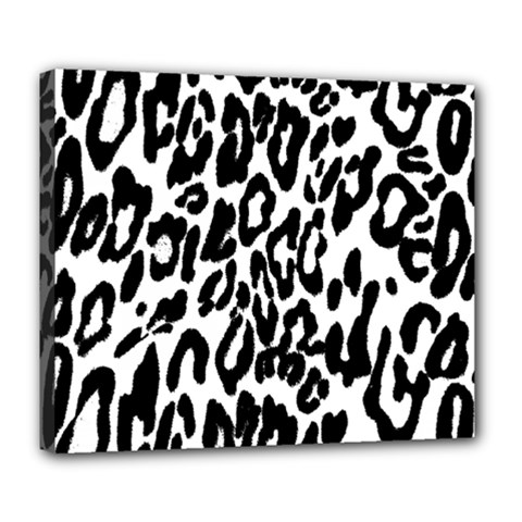Black And White Leopard Skin Deluxe Canvas 24  X 20