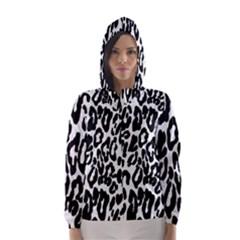 Black And White Leopard Skin Hooded Wind Breaker (women)
