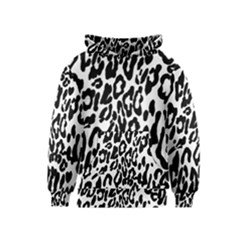 Black And White Leopard Skin Kids  Pullover Hoodie