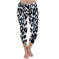 Black And White Leopard Skin Capri Winter Leggings