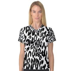 Black And White Leopard Skin Women s V-Neck Sport Mesh Tee
