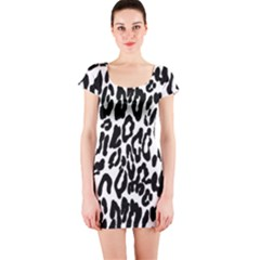Black And White Leopard Skin Short Sleeve Bodycon Dress