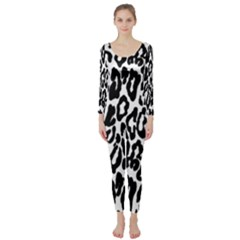 Black And White Leopard Skin Long Sleeve Catsuit