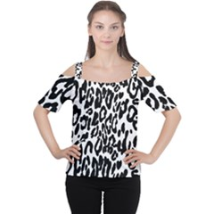 Black And White Leopard Skin Women s Cutout Shoulder Tee