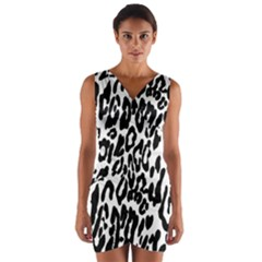 Black And White Leopard Skin Wrap Front Bodycon Dress