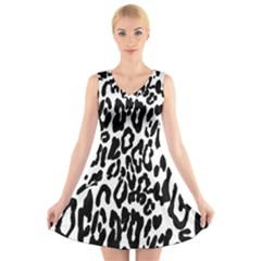Black And White Leopard Skin V Neck Sleeveless Skater Dress