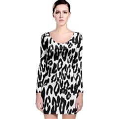 Black And White Leopard Skin Long Sleeve Velvet Bodycon Dress