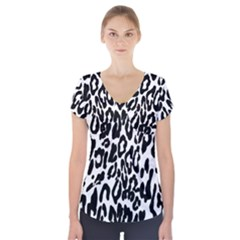 Black And White Leopard Skin Short Sleeve Front Detail Top