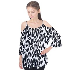 Black And White Leopard Skin Flutter Tees