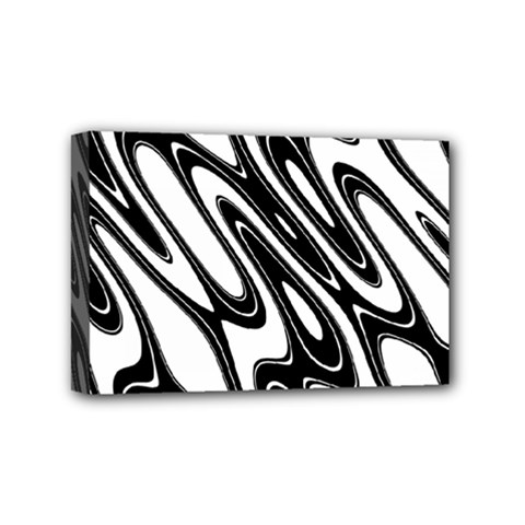 Black And White Wave Abstract Mini Canvas 6  X 4