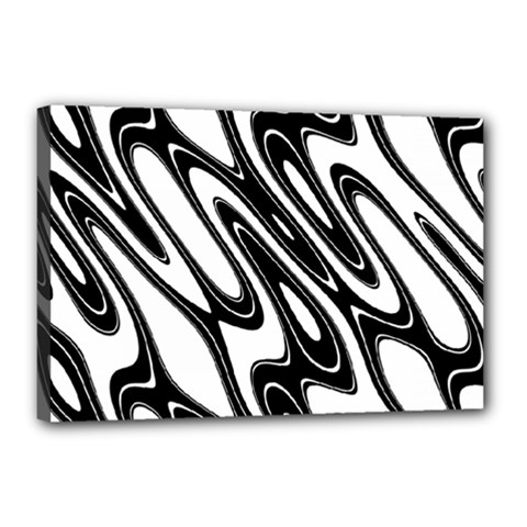 Black And White Wave Abstract Canvas 18  X 12