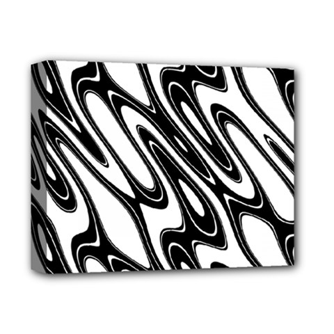 Black And White Wave Abstract Deluxe Canvas 14  X 11