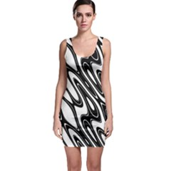 Black And White Wave Abstract Sleeveless Bodycon Dress