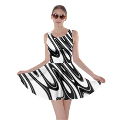 Black And White Wave Abstract Skater Dress