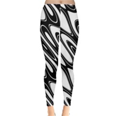 Black And White Wave Abstract Leggings