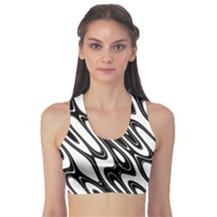 Black And White Wave Abstract Sports Bra