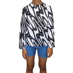Black And White Wave Abstract Kids  Long Sleeve Swimwear