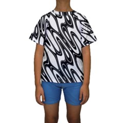 Black And White Wave Abstract Kids  Short Sleeve Swimwear
