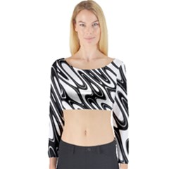 Black And White Wave Abstract Long Sleeve Crop Top
