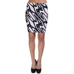 Black And White Wave Abstract Bodycon Skirt