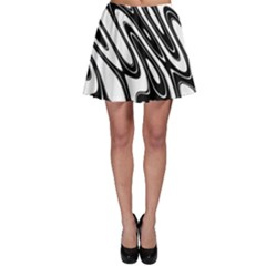 Black And White Wave Abstract Skater Skirt