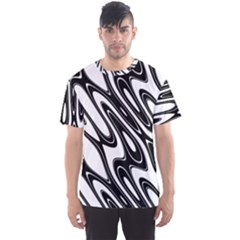 Black And White Wave Abstract Men s Sport Mesh Tee
