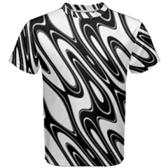 Black And White Wave Abstract Men s Cotton Tee