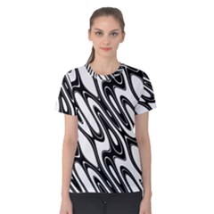 Black And White Wave Abstract Women s Cotton Tee