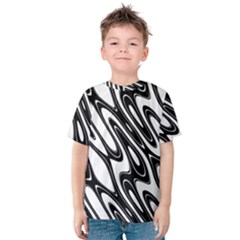 Black And White Wave Abstract Kids  Cotton Tee