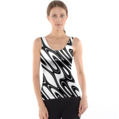 Black And White Wave Abstract Tank Top