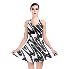 Black And White Wave Abstract Reversible Skater Dress