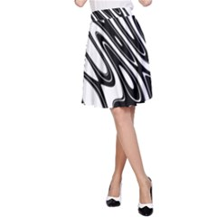 Black And White Wave Abstract A Line Skirt