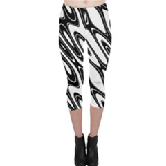 Black And White Wave Abstract Capri Leggings