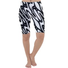 Black And White Wave Abstract Cropped Leggings