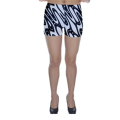 Black And White Wave Abstract Skinny Shorts