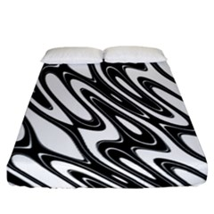 Black And White Wave Abstract Fitted Sheet (california King Size)