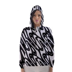Black And White Wave Abstract Hooded Wind Breaker (women)