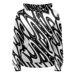 Black And White Wave Abstract Women s Pullover Hoodie