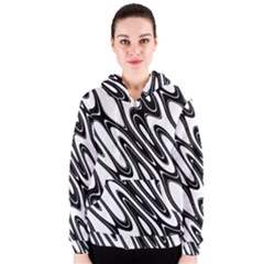 Black And White Wave Abstract Women s Zipper Hoodie