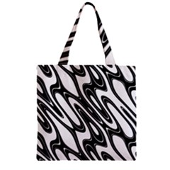 Black And White Wave Abstract Zipper Grocery Tote Bag
