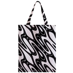 Black And White Wave Abstract Zipper Classic Tote Bag