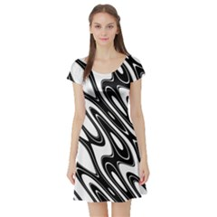 Black And White Wave Abstract Short Sleeve Skater Dress