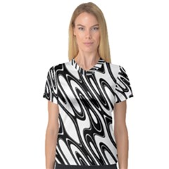 Black And White Wave Abstract Women s V Neck Sport Mesh Tee