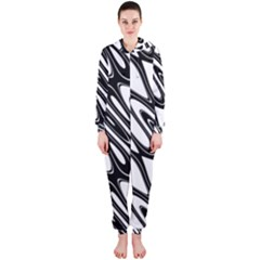 Black And White Wave Abstract Hooded Jumpsuit (Ladies)