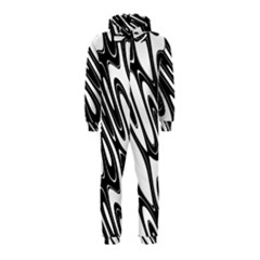 Black And White Wave Abstract Hooded Jumpsuit (kids)