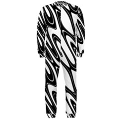 Black And White Wave Abstract Onepiece Jumpsuit (men)