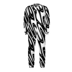 Black And White Wave Abstract Onepiece Jumpsuit (kids)